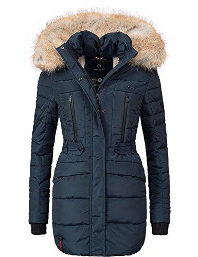 Marikoo nova cappotto trapuntato invernale da donna lungo con grande blu scuro l