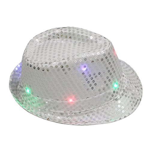 LUOEM LED Party Hut Jazz Hut Blinkende mit Pailletten für Silvester Party Kostüm Unisex (Silber)