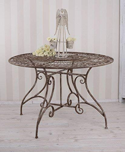 PALAZZO INT Gigantischer Gartentisch Shabby Chic Eisentisch runder Tisch Antik