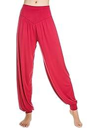 Aivtalk-Sarouels Pantalon Yoga Bouffant Modal pour Femme -Bloomer Elastique Extensible - Harem Pants Danse Pilates Sport - 14 Couleur Optique - S-XL