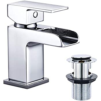 ATUM HOME Modern Waterfall Monobloc Bathroom Mixer Sink Tap Chrome Single Hole Handle Bathroom Basin Tap