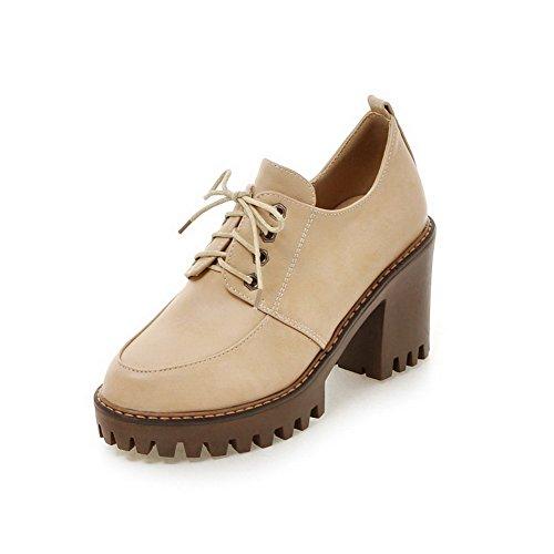 AllhqFashion Damen Schnüren Hoher Absatz Pu Leder Rein Rund Zehe Pumps  Schuhe Aprikosen Farbe