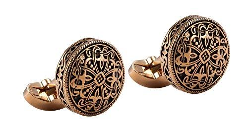 Knighthood Rose Gold Engraving Vintage Cufflinks for men