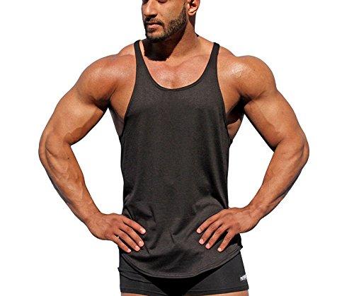 Hippolo Herren Sportshirt Sport Tank Top Trägershirt Tanktops Fitness Shirt Unterhemd (M, Schwarz)