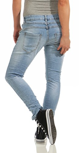 Fashion4Young 11424 LEXXURY Damen Jeans Röhrenjeans Hose Boyfriend Baggy Haremscut Damenjeans Slim-Fit (hellblau, XXL-44) -