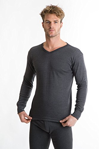 Rp Collections® mens Thermal Underwear t-shirt a manica lunga con scollo a V Grey