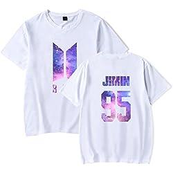 EMILYLE Unisex Galaxy Impresión de Letras y Números T-Shirt Bangtan Boys BTS Jimin Jin V Suga RM Jung Kook J Hope Fans KPOP Manga Corta Camiseta L,Blanco 95jimin