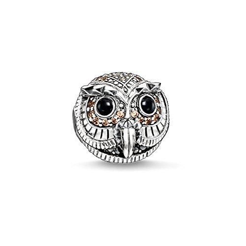 Thomas Sabo Damen-Bead Eule Karma Beads 925 Sterling Silber geschwärzt Zirkonia weiß braun schwarz K0178-650-7