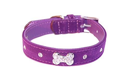 """Pet Palace® """"Plush Pup"""" Suede Luxury Dog Puppy Collar for Dogs of Distinction PLUS FREE LED FLASHING COLLAR TAG! (Purple, Extra Small) 1"""
