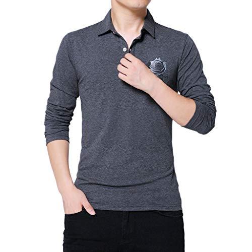 (Xmiral Herren Oberteile Bluse Langärmeliges Revers-T-Shirt aus Baumwolle V-Kragen Taste Twill Einfarbig Pullover(3XL,c Dunkelgrau))