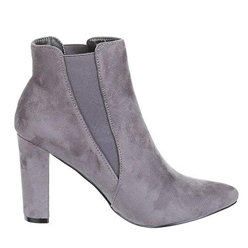 Damen Schuhe, B432S-KB, ANKLE BOOTS STIEFELETTEN Grau
