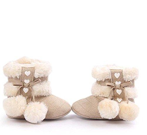 Auxma Für 0-18 Monate Baby Schuhe Baby-Winter-warme erste gehende Schuhe weiche Sole-Schnee-Aufladungen weiche Krippe-Schuhe Kleinkind-Aufladungen (6-12 M, Rosa) Beige