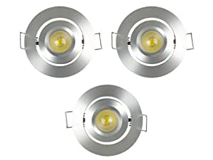 JEU KIT LOT DE 3 LAMPE PLAFONNIER SPOT BLANC NEUTRE A LED 1W EN ALUMINIUM
