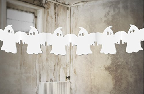 (Feste Feiern Halloween Deko I 1 Teil Girlande Geister Ghost Weiss 300cm Lang Happy Horror Grusel Party)