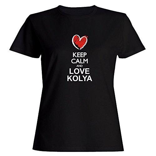 Idakoos Keep Calm and Love Kolya Chalk Style - Male Names - Women T-Shirt