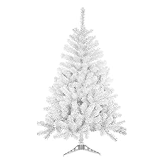 Árbol de Navidad Artificial Arboles C/Soporte Plástico 120-240cm (Blanco, 150cm 293Tips)