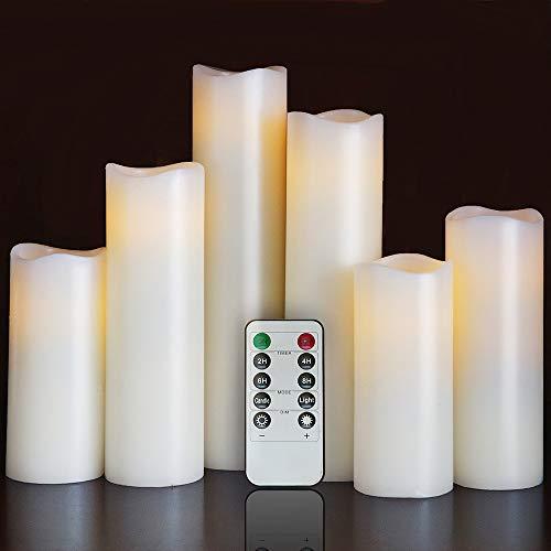 Air Zuker 6er LED Flammenlose Kerzen batteriebetriebene Kerzen mit Timer und 10 Tasten Fernbedienung