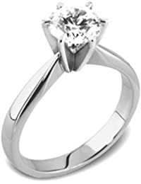 Abelini 9K White Gold Certified I1/HI 100% Natural Round Diamond Solitaire Engagement Rings (Available in 0.10-1.00CT)