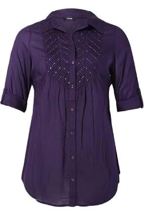Yoursclothing Plus Size Womens Sequin Embellished 3/4 Sleeve Shirt Size 30-32 Purple