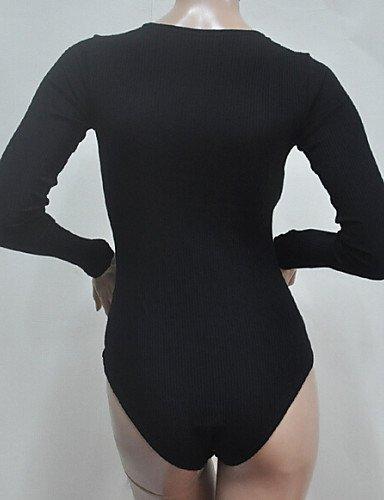 GSP-Combinaisons Aux femmes Manches Longues Moulant / Décontracté Tricots / Mélanges de Coton Moyen Micro-élastique black-m
