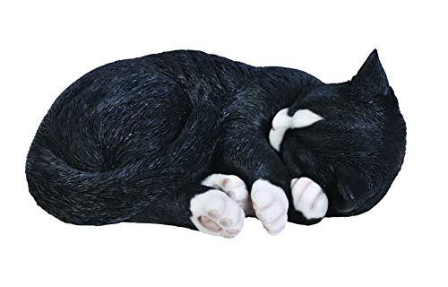 Vivid Arts Dekofigur Schlafende Katze, lebensecht, Gr. B, Schwarz/Weiß
