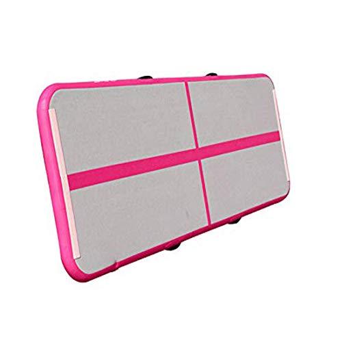 Air Track Tumbling Matte, aufblasbare Air Track Gymnastikmatte Gym für Gymnastik, Air Bodenschutzmatte für Zuhause, Picknick, Training, Cheerleading (3 Ft breit x 10 ft Lang x 4 in Dick) Pink + Weiß