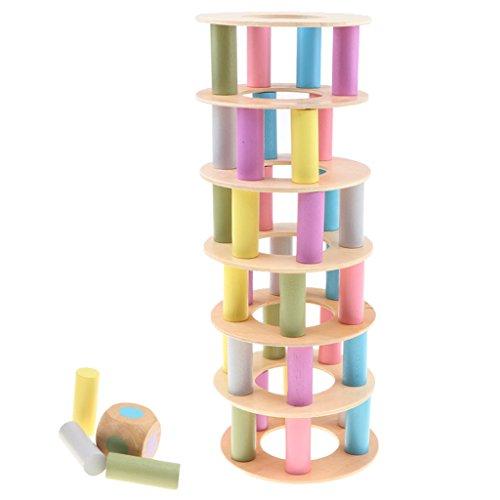 Baoblaze Balancierspiel Holzturm Stapelspiel Bunte Holzblöcke mit 2 Würfel, Konzentration und Geschicklichkeit Lernspiel für Kinder und Kleinkind - Stacking-würfel