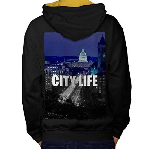 Stadt Leben Nacht Mode Washington USA Men M Kontrast Kapuzenpullover Zurück | Wellcoda