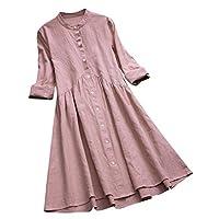 VjGOAL Damesjurk, casual retro katoen en linnen knoop lange top blouse met lange mouwen