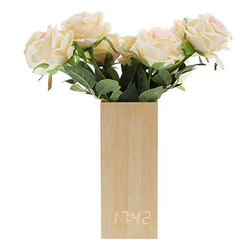 1-1 LED Stimmenkontrolle Wecker, Elektronisch Holz Uhr Vase Dekoration Magnetische Anziehungskraft Hinweis Senden Sie Falsche Blumen,A
