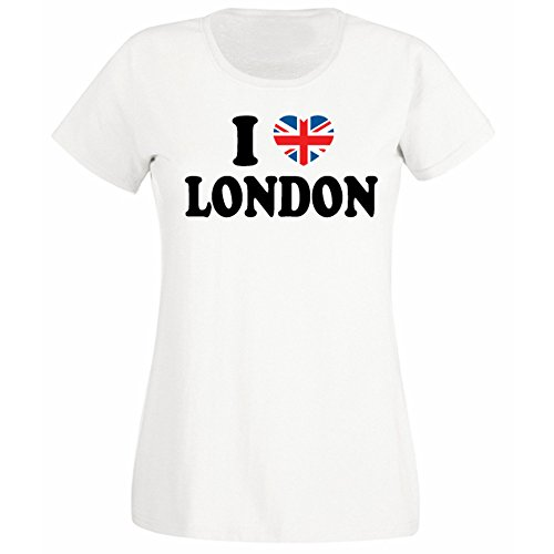Womens I Love London Union Jack Heart T-shirt White for sale  Delivered anywhere in Ireland