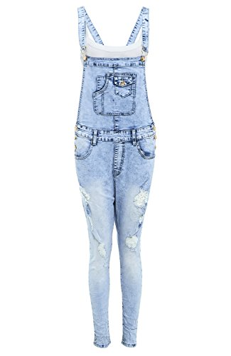 SS7 New Women's Relaxed Stretch Denim Distressed Dungarees, Sizes 6 To 14