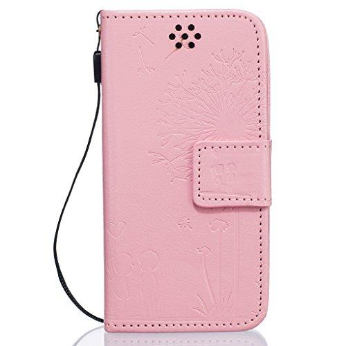 Idatog™ - Custodia a libro per iPhone 5/5S/SE, con protezione per lo schermo in vetro temperato, chiusura magnetica, alta qualità, stile classico ed elegante, con motivo dente di leone, in similpelle, Pink
