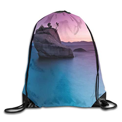 GONIESA Fashion New Drawstring Backpacks Bags Daypacks,Bonsai Rock In Lake Tahoe Tropical Surreal Scenery Exotic Vivid Colors Artwork,5 Liter Capacity Adjustable for Sport Gym Traveling - Bonsai Rock