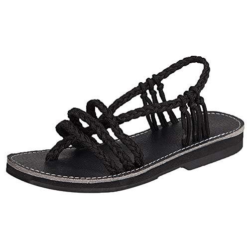 SHE.White Damen Kreuz Geflochtene Römisch Sandale Sommer Schuhe Slipper Mode Strand Flache Schuhe Flip-Flop Sommerschuhe Freizeit Flach Schuhe