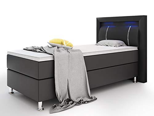 Home Collection24 GmbH Boxspringbett Inegol 90 x 200 cm mit 7 Zonen Taschenfederkernmatratze Topper in H3 Hotelbett Einzelbett LED-Beleuchtung, Farbe:Schwarz