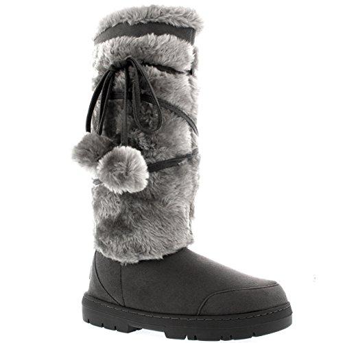 Damen Pom Pom Tall Winter Pelz Gefüttert Schnee Winter Regen Warm Schuhe Stiefel Grau