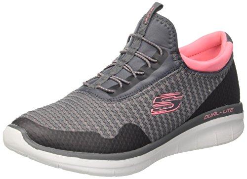 Skechers Damen Synergy 2.0-Mirror Image Slip On Sneaker, Grau (Charcoal/Coral), 39 EU