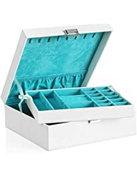 SONGMICS Jewellery Box 2-layer Jewellery Storage Removable Tray for Earring Ring Bracelet, White JDS305W