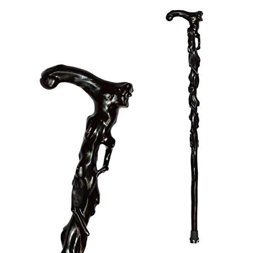 Bastone in legno 1Solo stampelle con mogano mano intagliato rubinetto canna Walking Cane , black