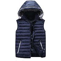 GXS Chaleco de algodón. Otoño e invierno más tamaño nuez algodón chaleco. Con capucha de la capa de abajo. Chaleco sin mangas , 8xl , deep blue