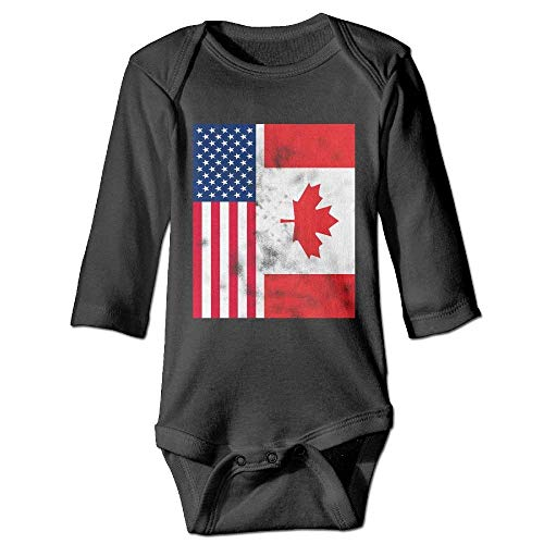 Retro Canadian American Flag Vintage Baby Unisex Solid One Pack Long Sleeve Bodysuits Onesies