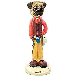 Figura pug cawboy de coleccion