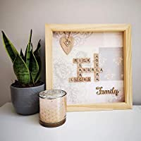 "Personalised Scrabble Family Frame Wall Art - 12x12"" - Choice of Frame Colours"
