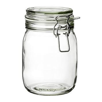 Ikea Korken - Barattolo con coperchio, in vetro trasparente, 1 l ...