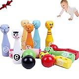 DQTYE Mini Holz Bowling Set Kinder Bunte Holz Kegelspiel mit 10 Tier Gesichter Pins 3 Bälle Lernspielzeug für Kleinkinder Kinder