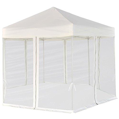 Festnight gazebo pieghevole tenda/gazebo pieghevole esagonale pop-up con 6 pareti crema 3,6x3,1 m