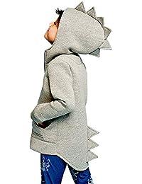 JiaMeng Ropa de Abrigo Chaqueta de Estilo Dinosaurio con Capucha Sombreros Ropa de Moda para niños Abrigo Grueso