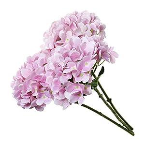 T4U Künstliche Hortensien Kunstblumen Strauß Rosa 3er-Set für Wohnung Hochzeit Hotel Restaurant Deko