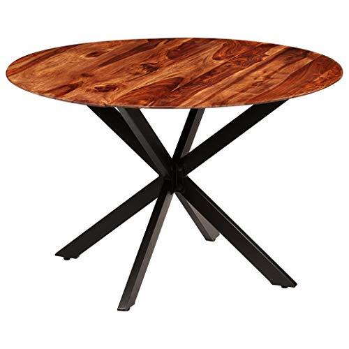 Festnight- Rund Esstisch Holz Esszimmertisch Küchentisch Sheesham-Massivholz Wohnzimmer Esszimmer Tisch Stahlbeine 120 x 77 cm